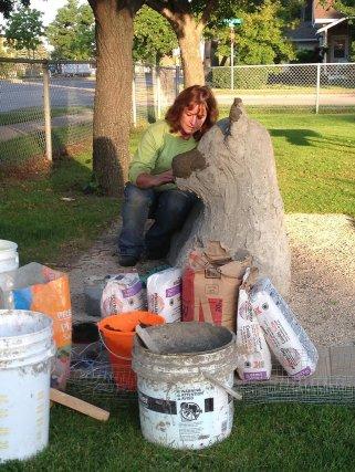 Wolf, Free form Concrete bench, Yvette Cuthbert, Artist