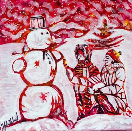 Building a snowman, Celebrate Canada, Yvette Cuthbert, Artist