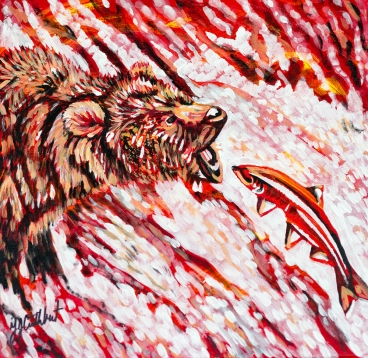 Grizzly catching Salmon, Celebrate Canada, Yvette Cuthbert