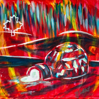 Igloo & Northern Lights, celebrate Canada, Yvette Cuthbert, Artist