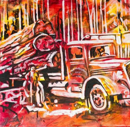 Logging,, celebrate Canada, Yvette Cuthbert, Artist
