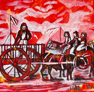 Metis with Red River Oxcart, Celebrate canada, Yvette Cuthbert, Artist