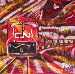 Trains connecting Canada coast to coast, Celebrate Canada, Yvette Cuthbert, Artist