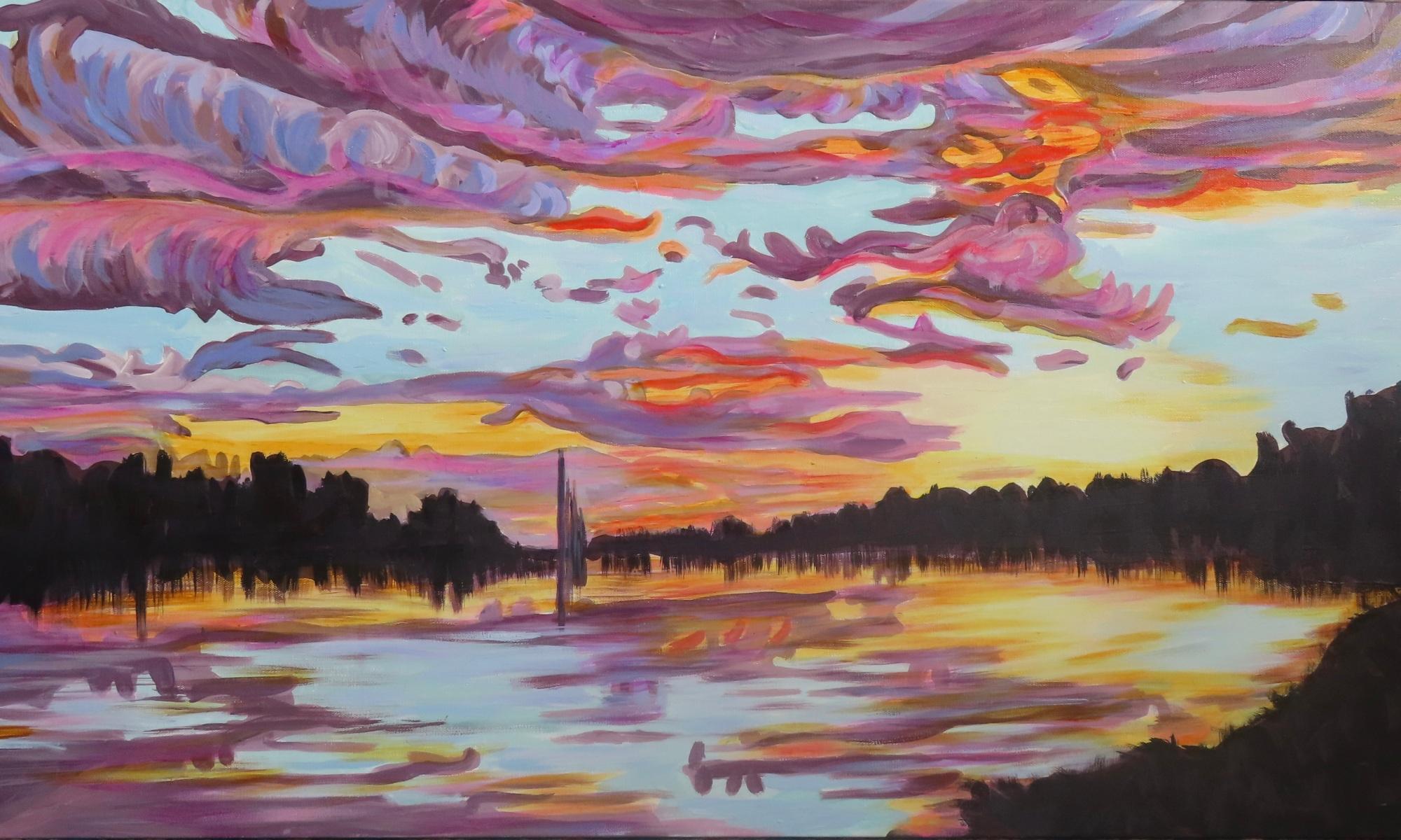 Crescent Lake sunset w/ fountain